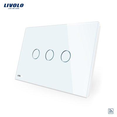 Intrerupator triplu wireless cu touch Livolo din sticla – standard italian