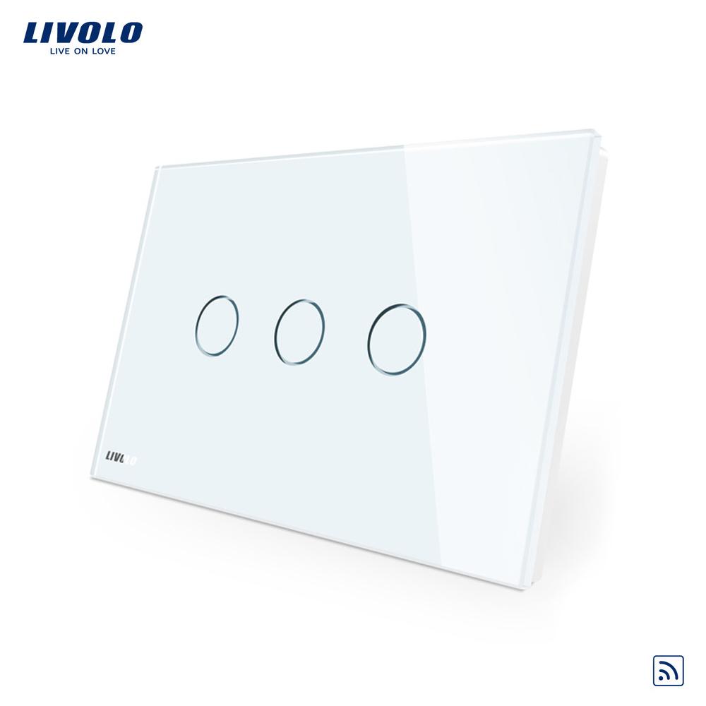 Intrerupator triplu wireless cu touch Livolo din sticla – standard italian imagine case-smart.ro 2021