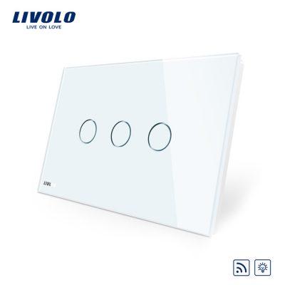 Intrerupator triplu wireless cu variator cu touch Livolo din sticla – standard italian