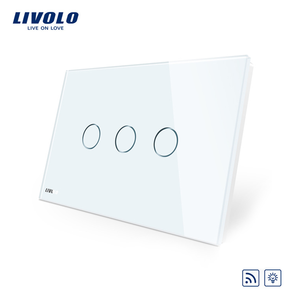 Intrerupator triplu wireless cu variator cu touch Livolo din sticla – standard italian imagine case-smart.ro 2021