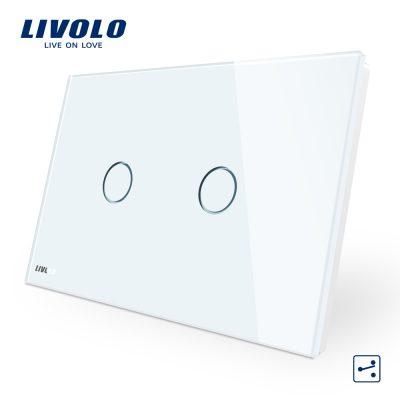 Intrerupator dublu cap scara/cruce cu touch Livolo din sticla – standard italian