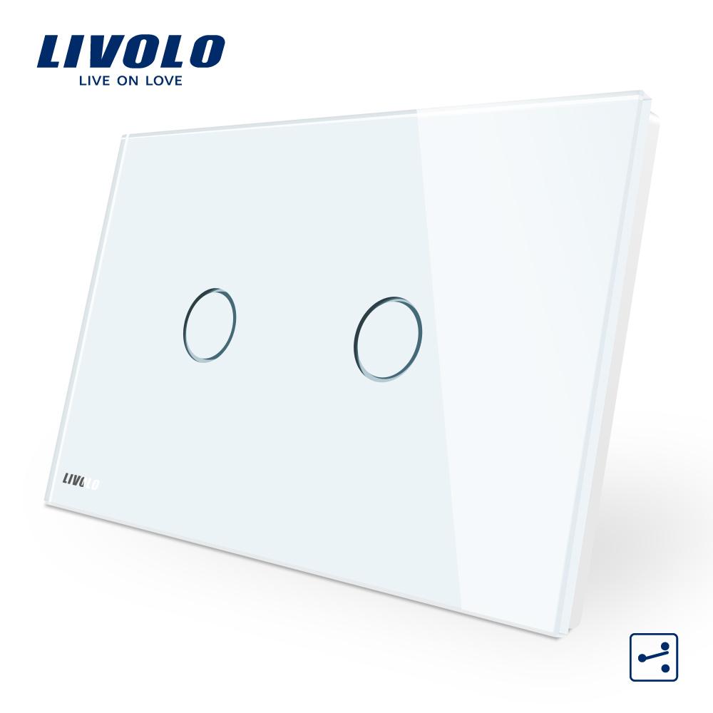 Intrerupator dublu cap scara/cruce cu touch Livolo din sticla – standard italian imagine case-smart.ro 2021