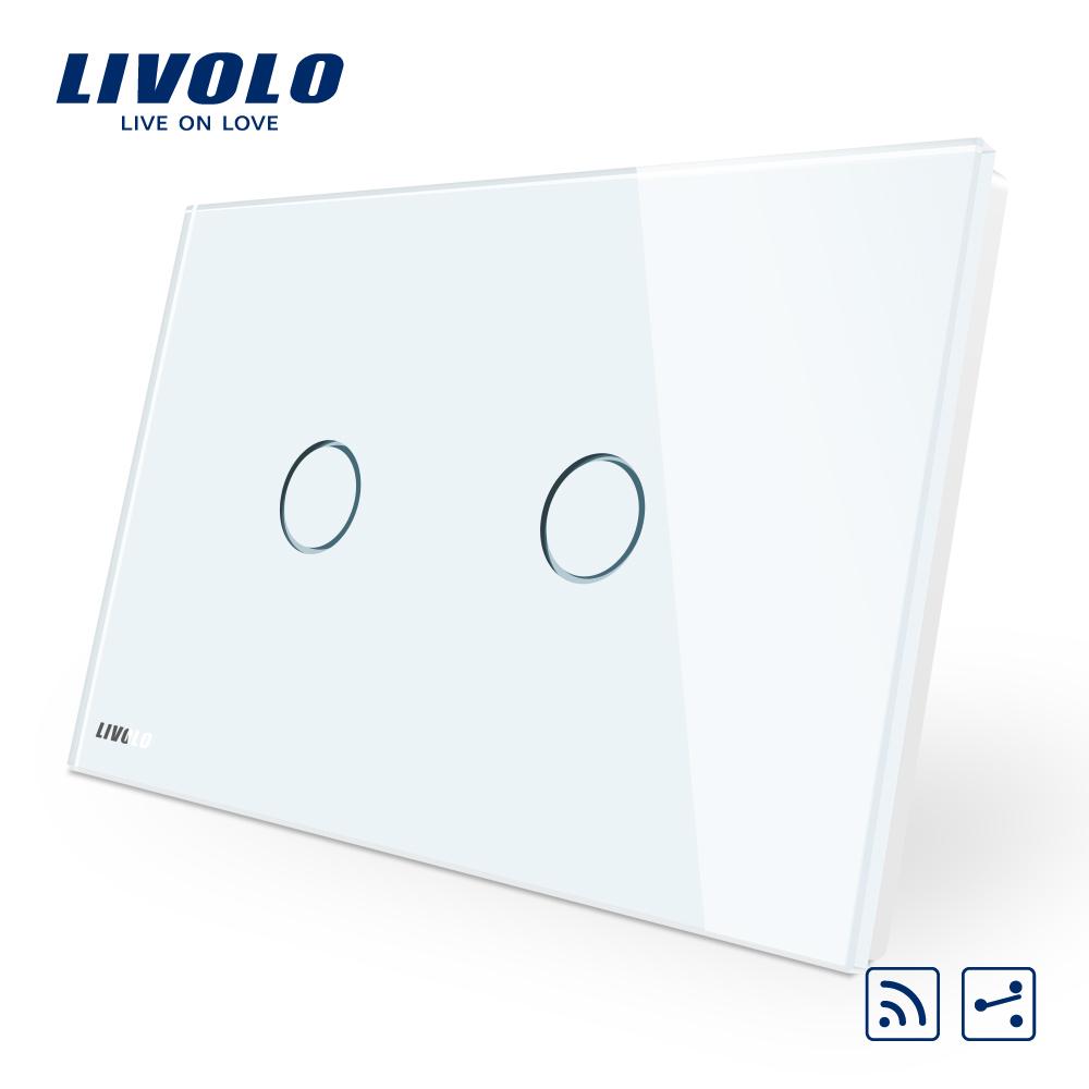 Intrerupator dublu cap scara/cruce wireless cu touch Livolo din sticla – standard italian imagine case-smart.ro 2021