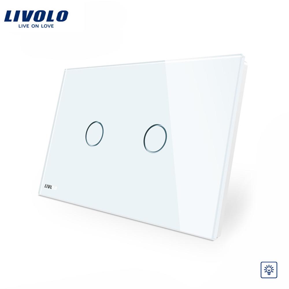 Intrerupator dublu cu variator cu touch Livolo din sticla – standard italian imagine case-smart.ro 2021