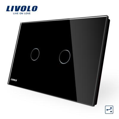 Intrerupator dublu cap scara/cruce cu touch Livolo din sticla – standard italian culoare neagra