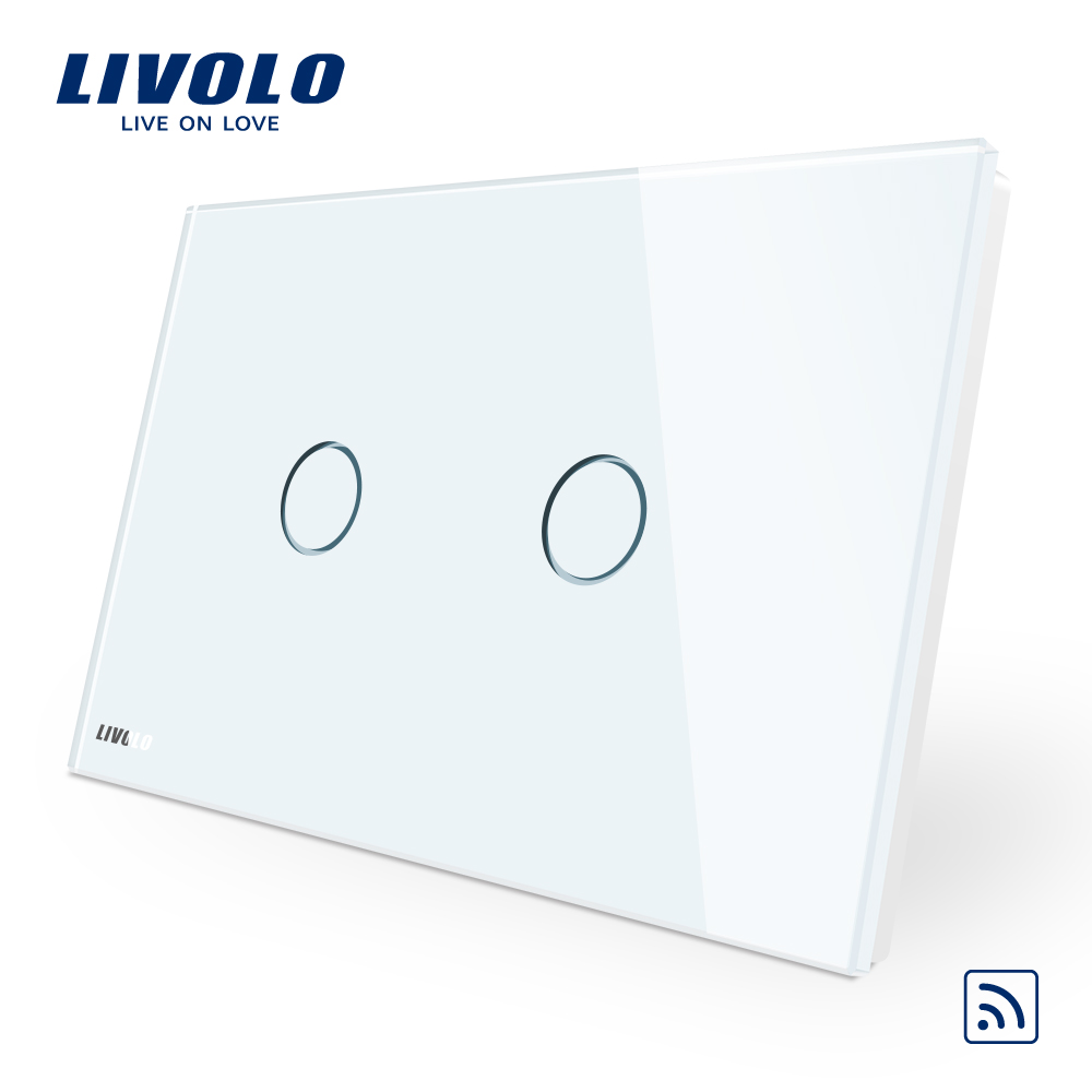 Intrerupator dublu wireless cu touch Livolo din sticla – standard italian imagine case-smart.ro 2021