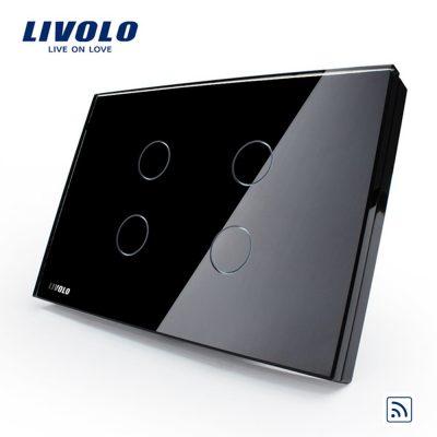Intrerupator cvadruplu wireless cu touch Livolo din sticla – standard italian culoare neagra