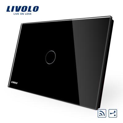 Intrerupator cap scara/cruce wireless cu touch Livolo din sticla – standard italian culoare neagra
