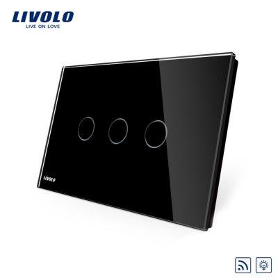 Intrerupator triplu wireless cu variator cu touch Livolo din sticla – standard italian culoare neagra