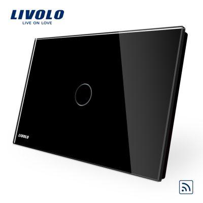 Intrerupator simplu wireless cu touch Livolo din sticla – standard italian culoare neagra