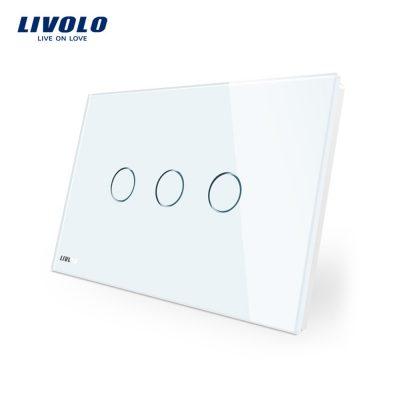Intrerupator triplu cu touch Livolo din sticla – standard italian