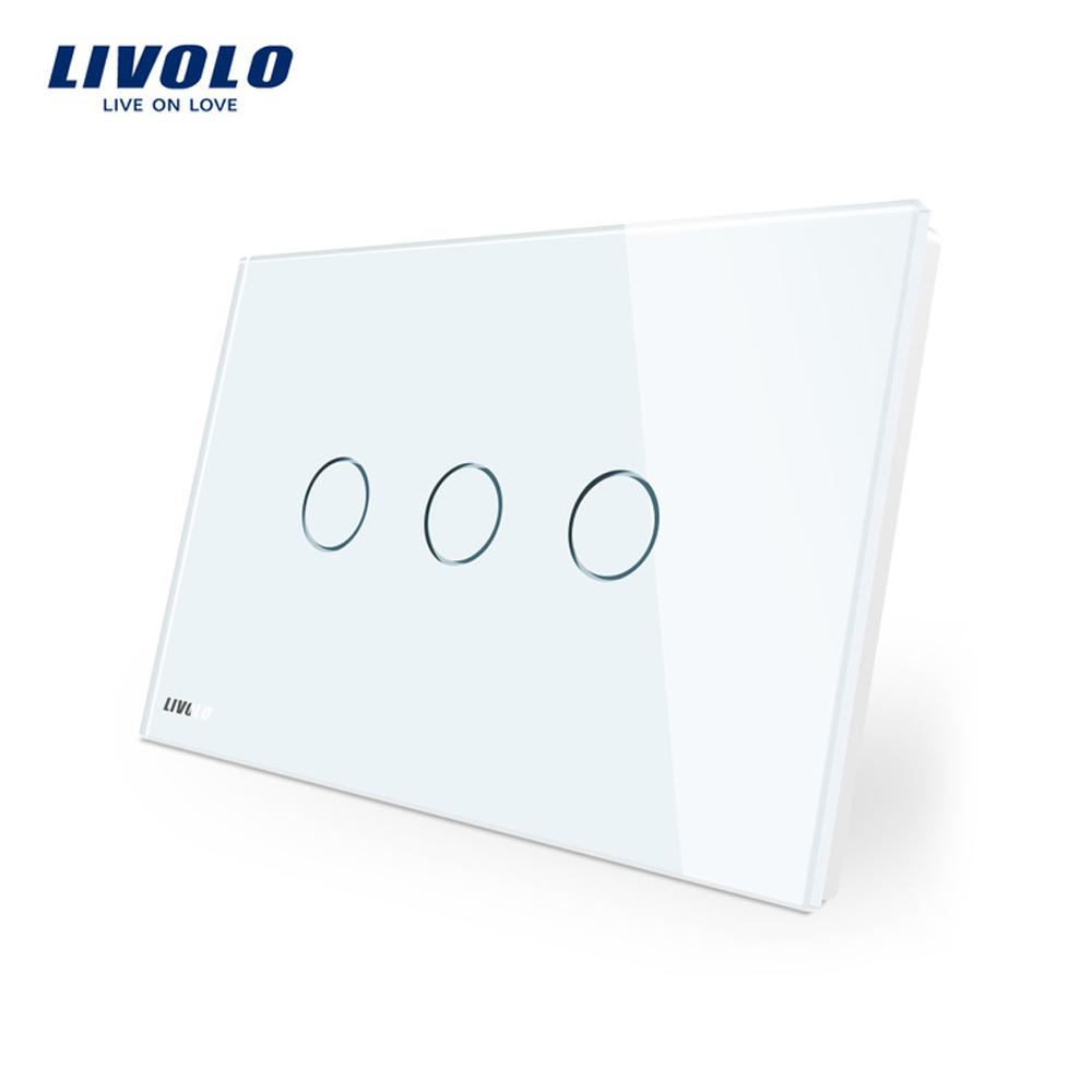 Intrerupator triplu cu touch Livolo din sticla – standard italian imagine case-smart.ro 2021