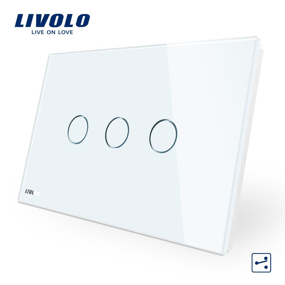 Intrerupator triplu cap scara/cruce cu touch Livolo din sticla – standard italian imagine case-smart.ro 2021