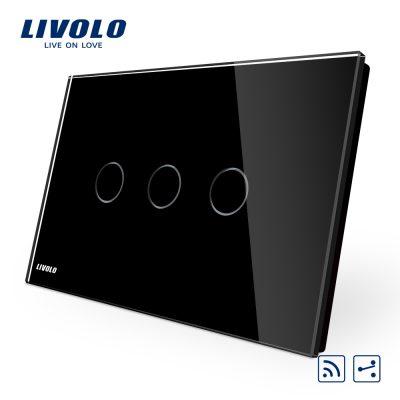 Intrerupator triplu cap scara/cruce wireless cu touch Livolo din sticla – standard italian culoare neagra