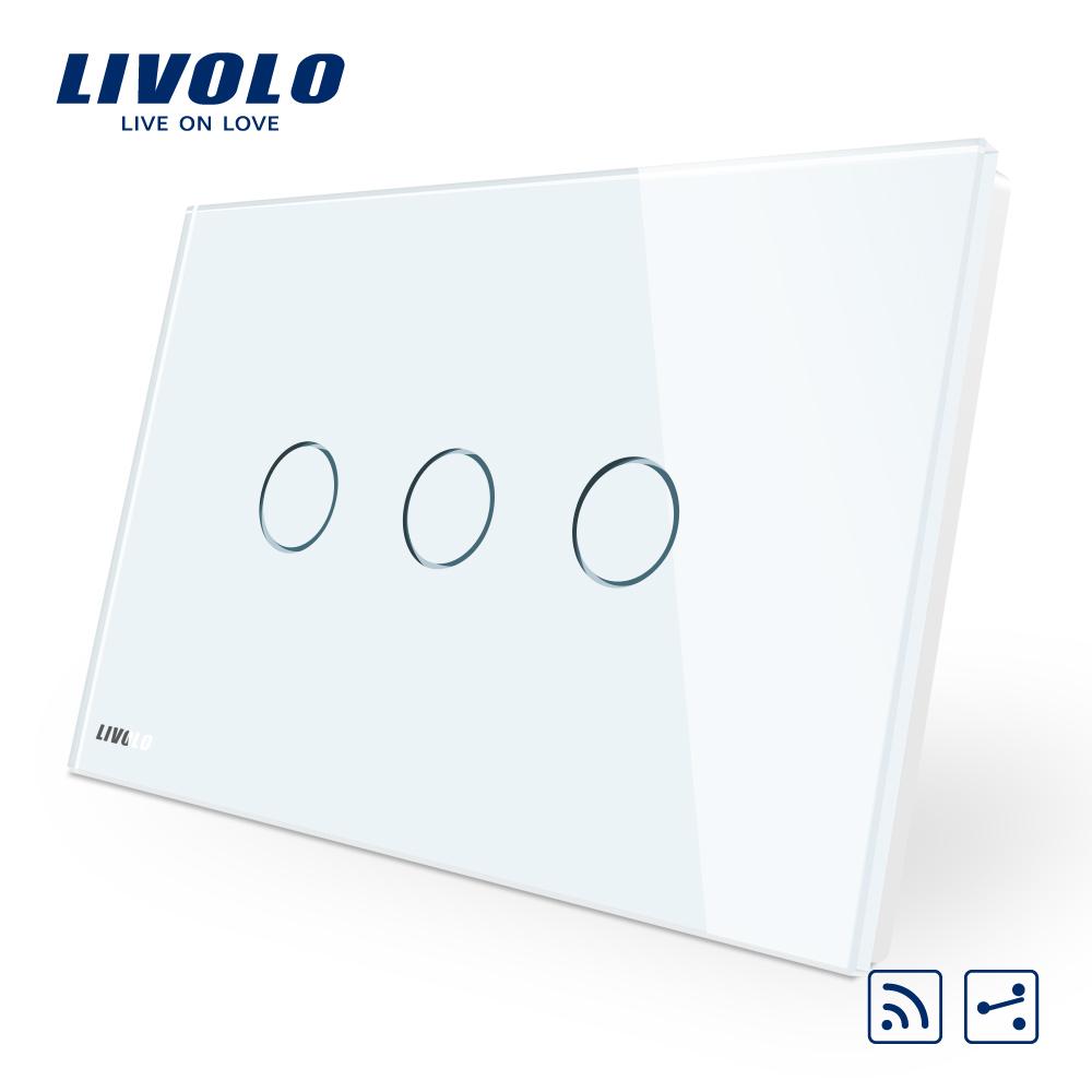 Intrerupator triplu cap scara/cruce wireless cu touch Livolo din sticla – standard italian imagine case-smart.ro 2021