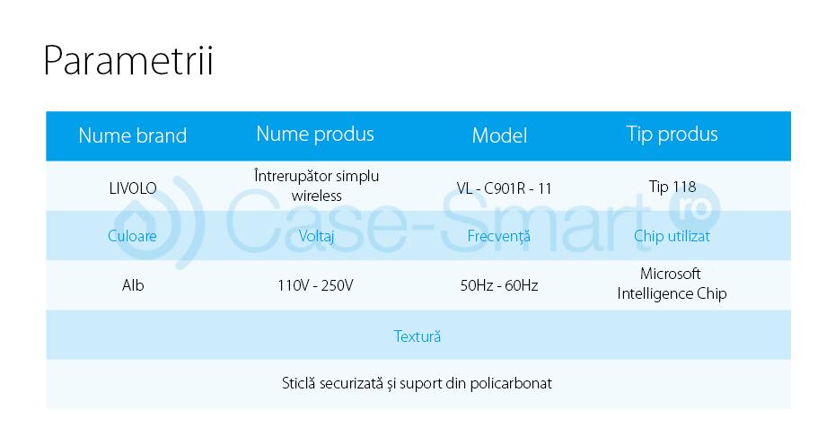 Intrerupator simplu wireless cu touch Livolo din sticla – standard italian