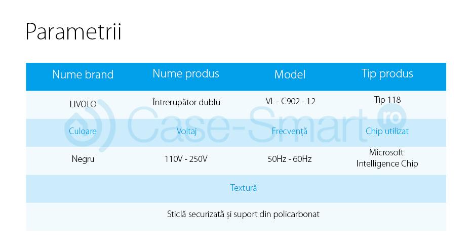Intrerupator dublu wireless cu variator cu touch Livolo din sticla – standard italian