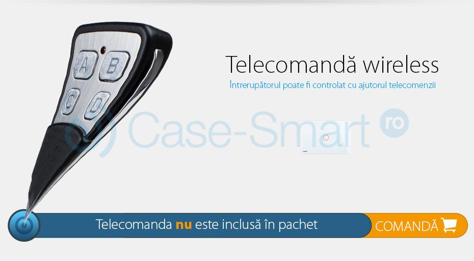 Intrerupator cap scara/cruce wireless cu touch Livolo din sticla – standard italian