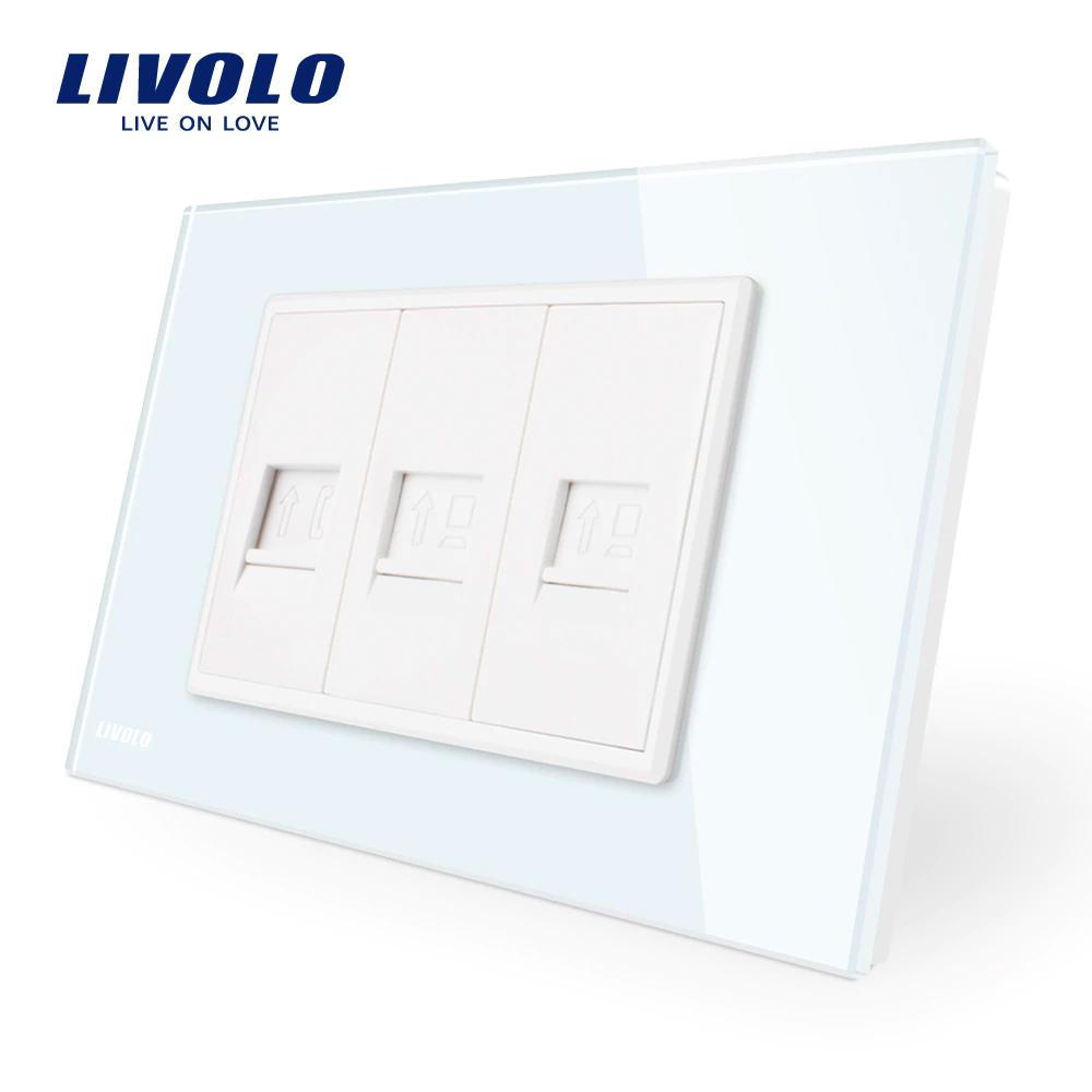 Priza telefon+dubla internet Livolo cu rama din sticla – standard italian imagine case-smart.ro 2021