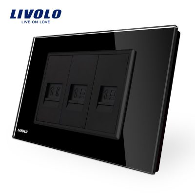 Priza telefon+dubla internet Livolo cu rama din sticla – standard italian culoare neagra