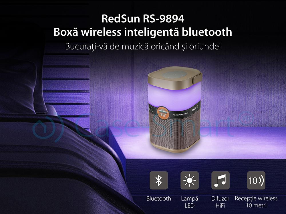 Boxa si lampa inteligenta portabila bluetooth Redsun