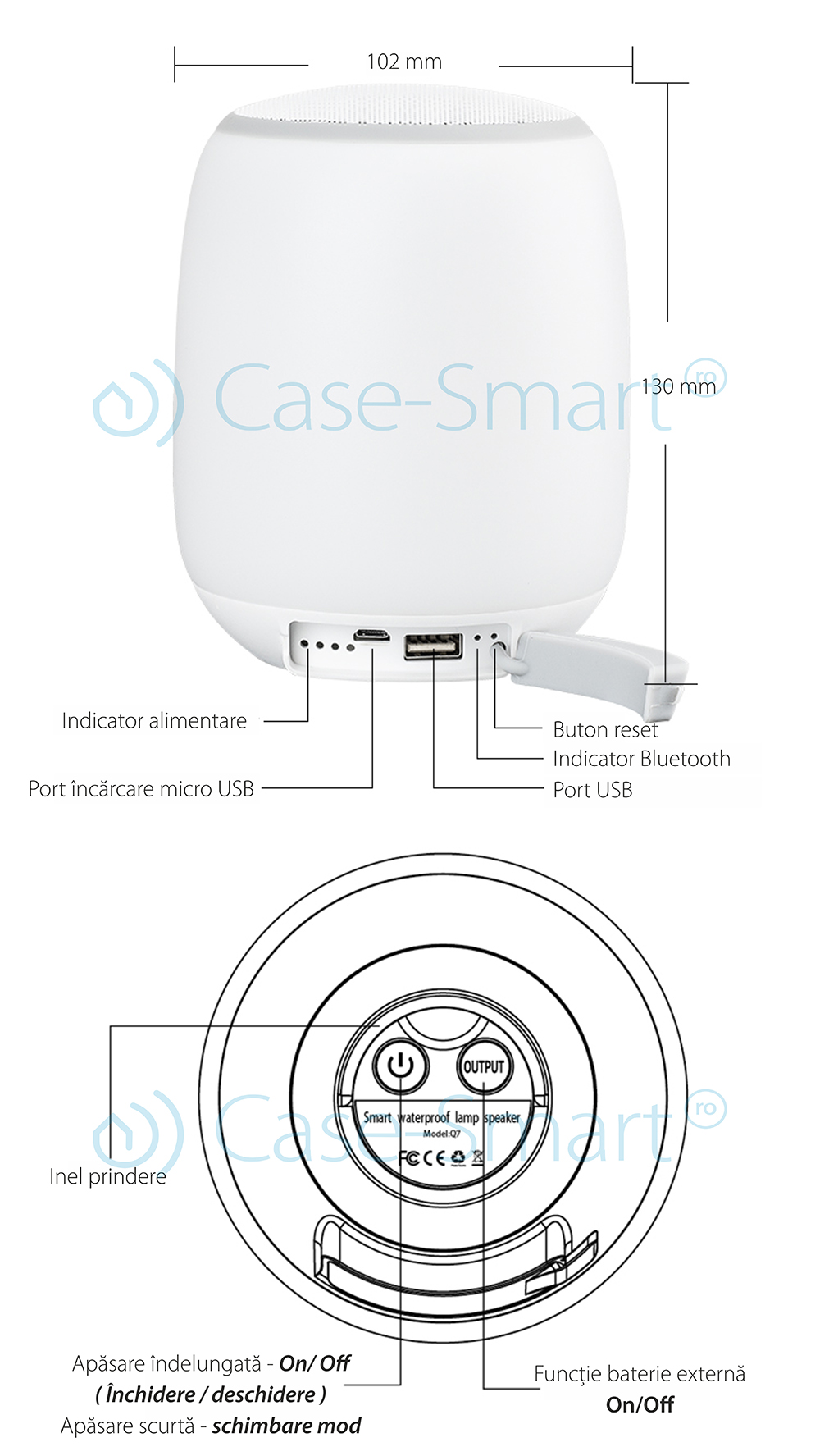 Boxa si lampa inteligenta portabila, bluetooth Redsun RS-WBSL-Q7