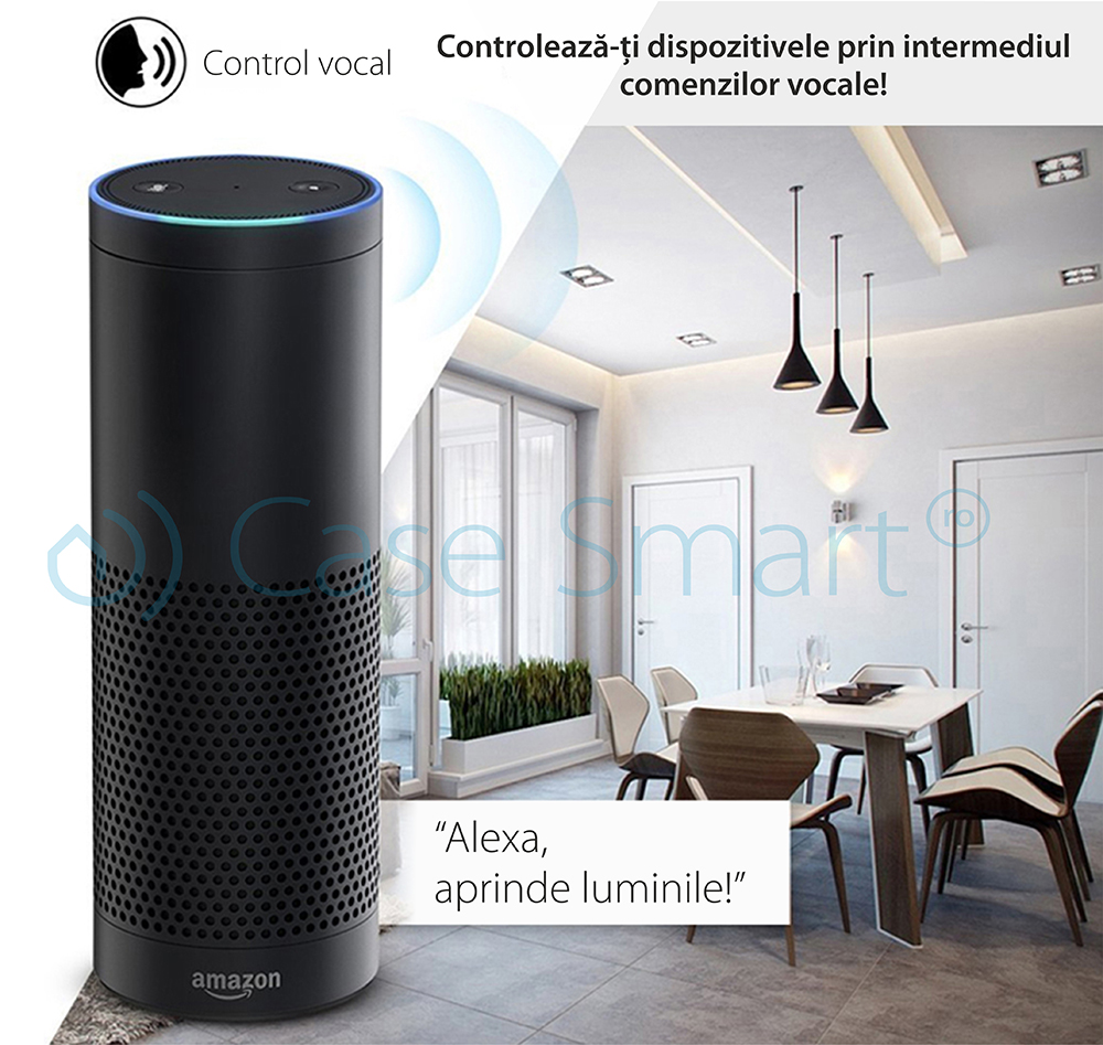 Priza inteligenta RedSun EU RS-J6 cu port USB, compatibil Alexa si Google Home