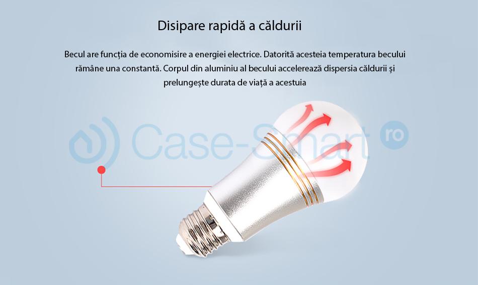 Bec inteligent LED RGB wifi rotund Red Sun – control aplicatie mobila, Red Sun RS-P111-5W