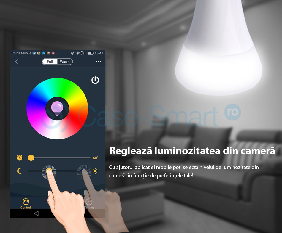 Bec inteligent LED RGB wireless Red Sun, control de pe aplicatie mobila Red Sun RS-P0105-5W