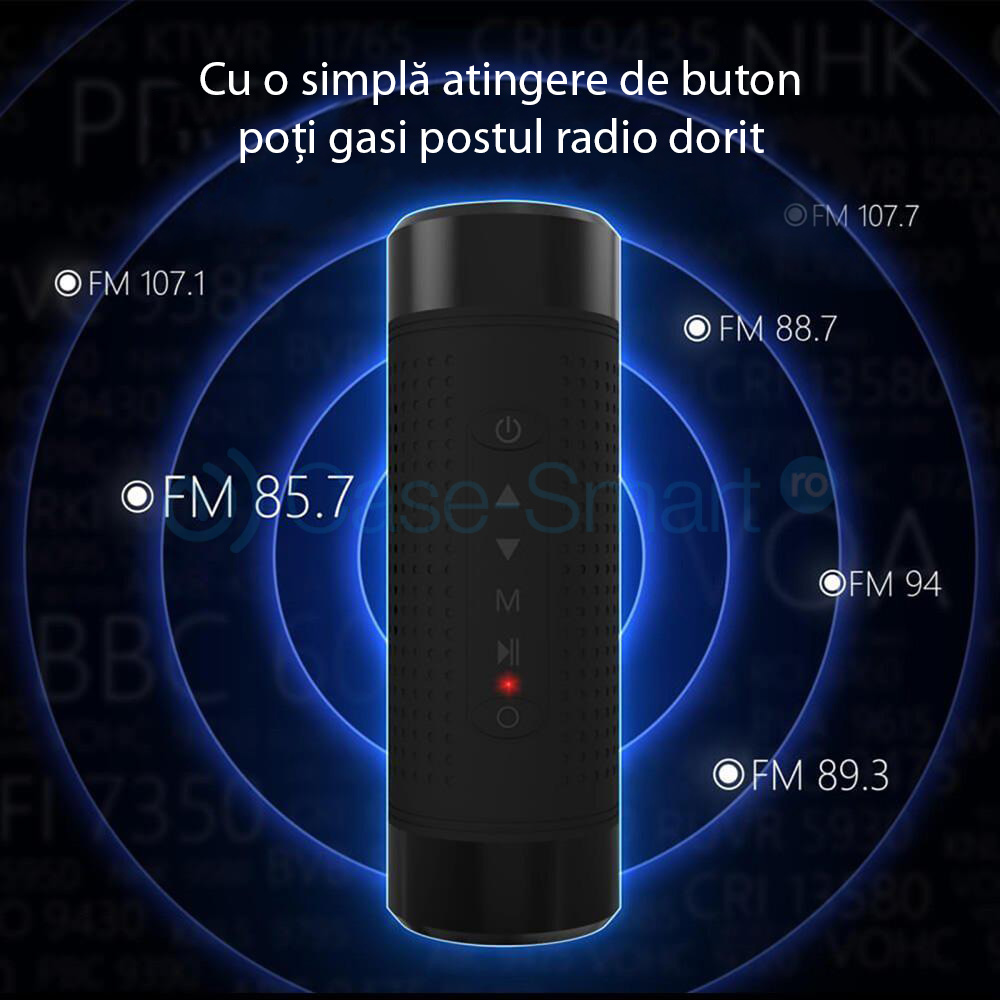 Boxa portabila cu Bluetooth, radio FM Red Sun, lanterna, powerbank
