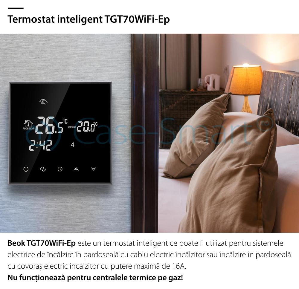Termostat Wi-Fi pentru incalzirea electrica in pardoseala BeOK TGT70WIFI-EP