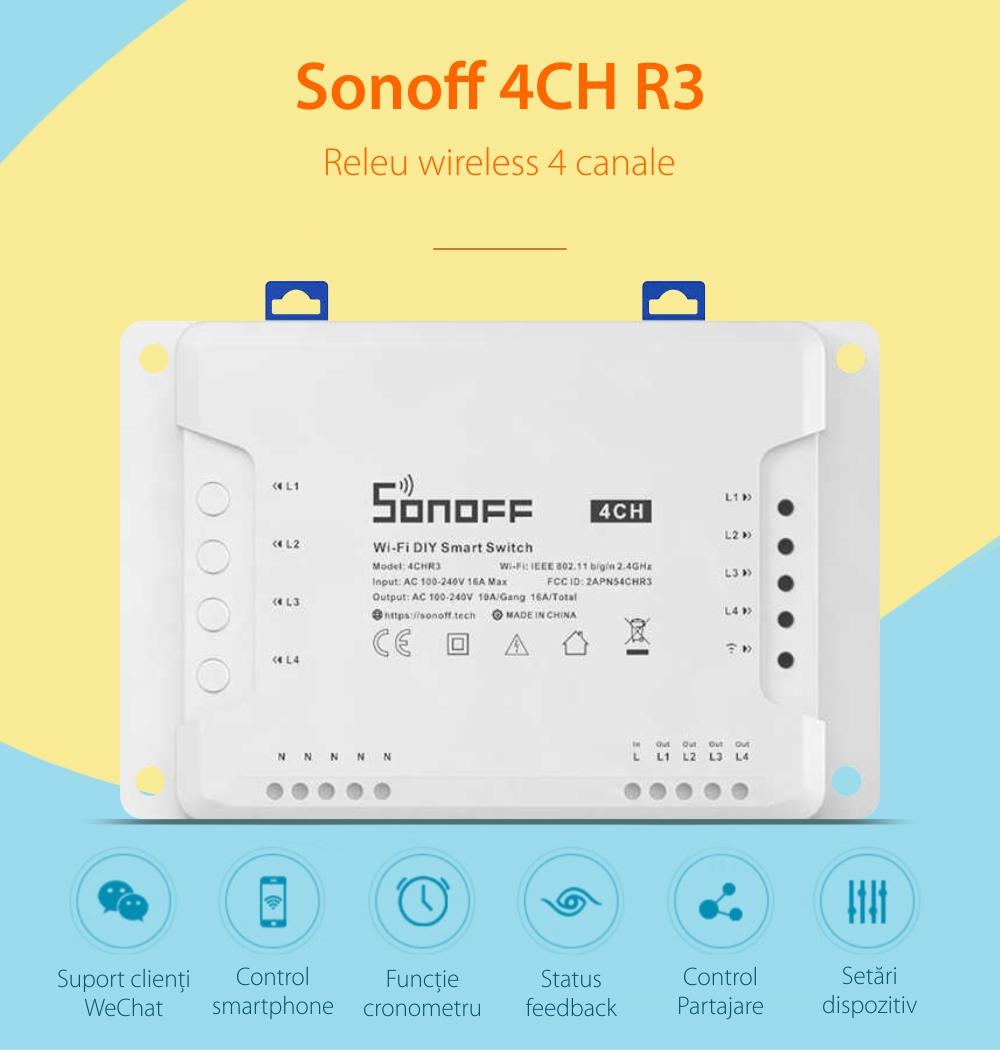 Releu Wireless 4 canale – Sonoff 4CH R3