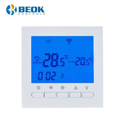 Termostat WiFi pentru centrala termica pe gaz si incalzire in pardoseala BeOk BOT-313WiFi culoare albastra