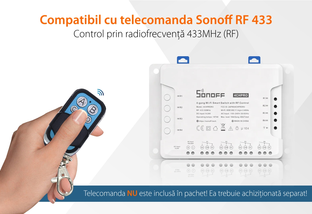 Releu Wireless 4 canale Sonoff 4CH Pro R3