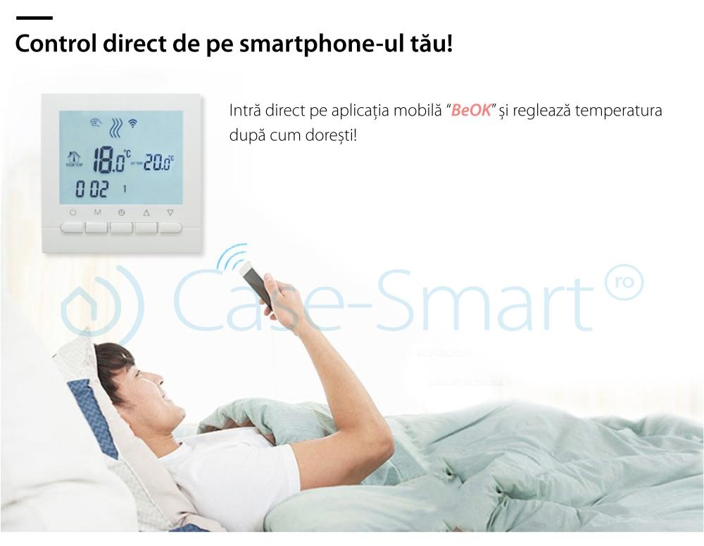Termostat WiFi pentru centrala termica pe gaz si incalzire in pardoseala BeOk BOT-313WiFi