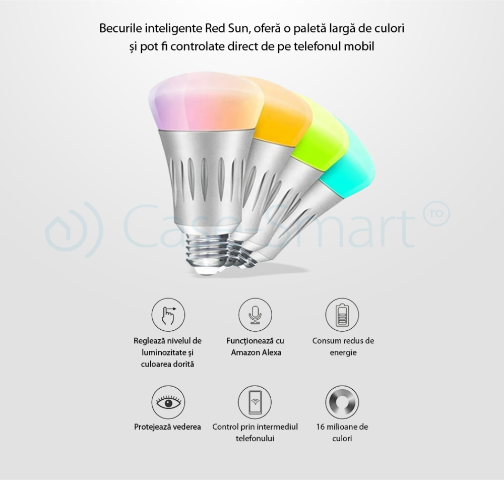 Bec inteligent LED RGB wifi rotund Red Sun, control de pe aplicatie mobila – RS-SW-LB-E27