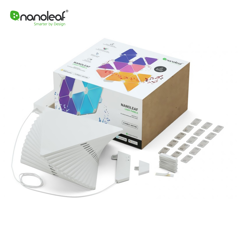 Kit Promo 15 Panouri luminoase inteligente Nanoleaf Aurora + Senzor Rythm imagine case-smart.ro 2021