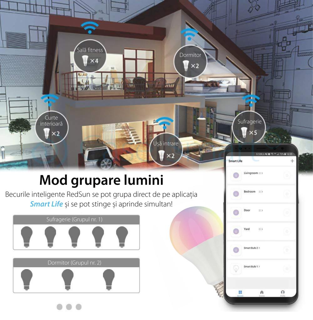 Bec inteligent LED multicolor RGB variator wifi rotund Red Sun, control de pe aplicatie mobila – RS-SW-LB-A21