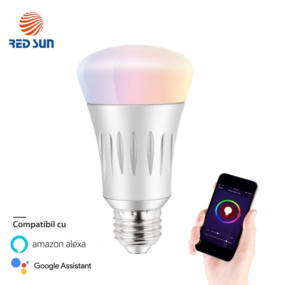 Bec inteligent LED RGB wifi rotund Red Sun, control de pe aplicatie mobila – RS-SW-LB-E27 imagine case-smart.ro 2021