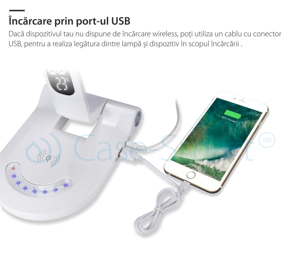 Lampa de birou cu incarcare wireless QI pentru telefonul mobil – RS-LTL-A8A