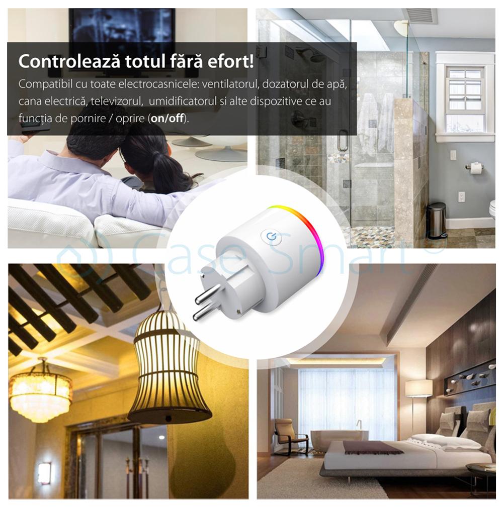 Priza inteligenta RedSun Wi-Fi cu monitorizare de energie si indicator led