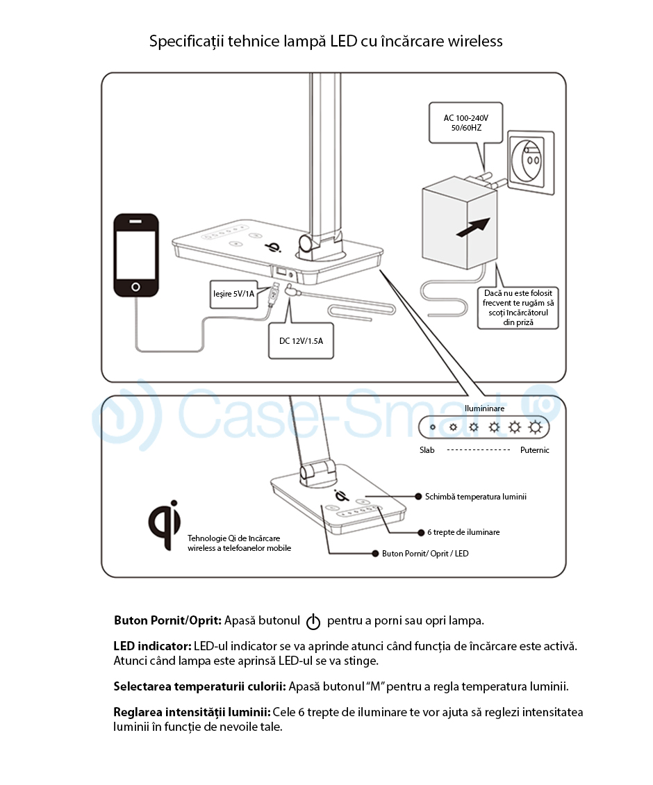 Lampa LED de birou cu incarcare wireless QI RedSun RS-LTL-X3A-WC