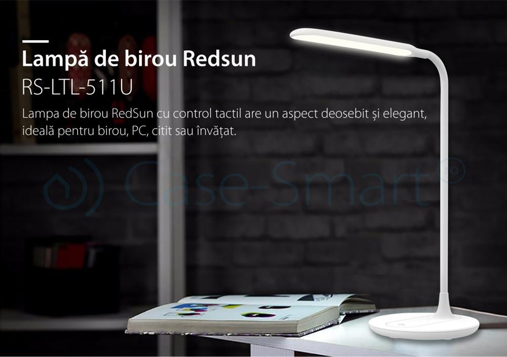 Lampa de birou cu USB si 3 cu niveluri de iluminare Red Sun