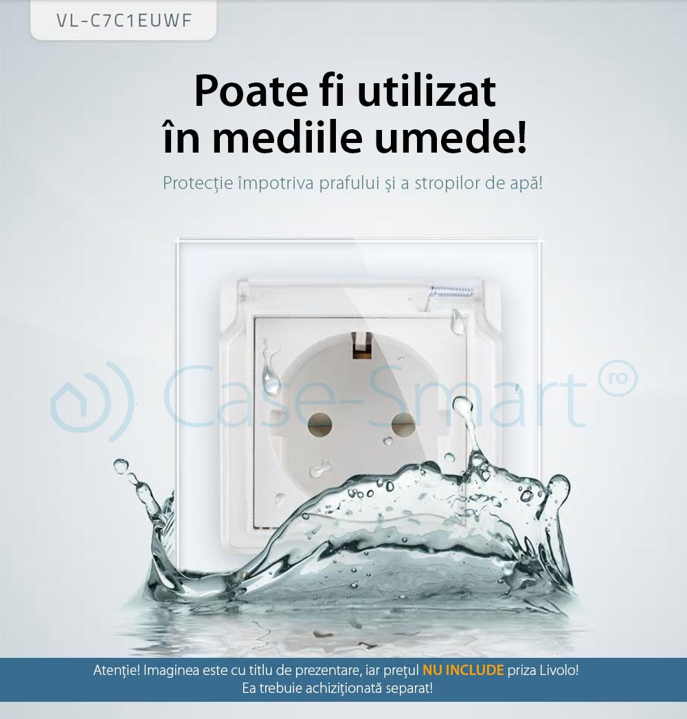 Capac de protectie rezistent la apa pentru prizele din sticla Livolo