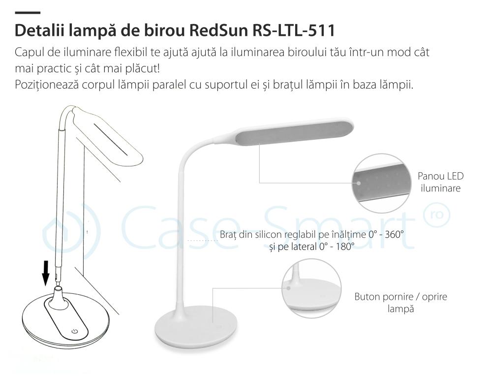 Lampa de birou Red Sun 3 cu niveluri de iluminare