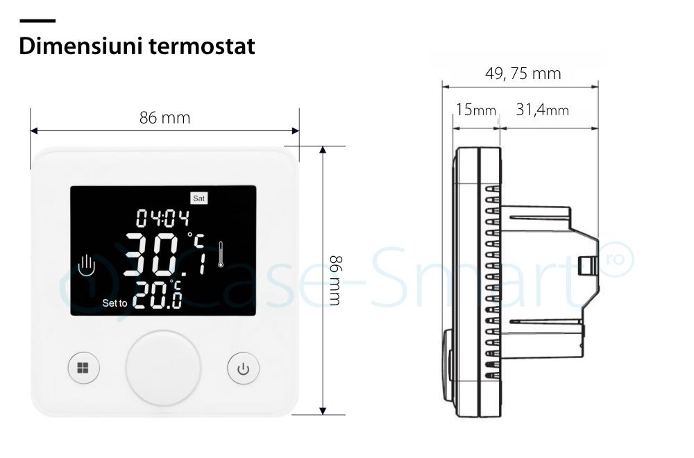 Termostat pentru incalzirea electrica in pardoseala BeOK TOG77-EP