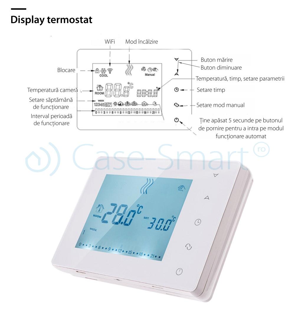 Termostat pentru centrala termica pe gaz si incalzire in pardoseala BeOK BOT-X306