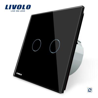 Intrerupator dublu cu revenire contact uscat Livolo cu touch din sticla culoare neagra