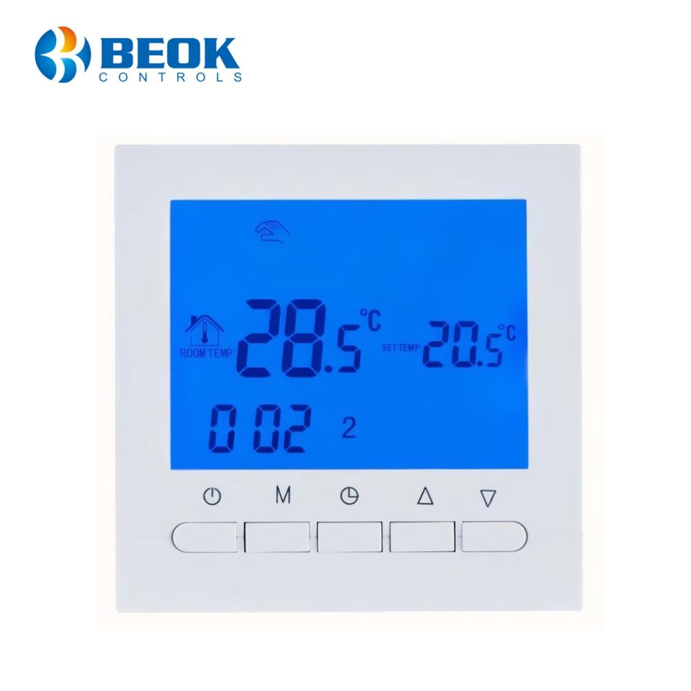 Termostat pentru centrala termica pe gaz si incalzire in pardoseala BeOK BOT-313W imagine case-smart.ro 2021