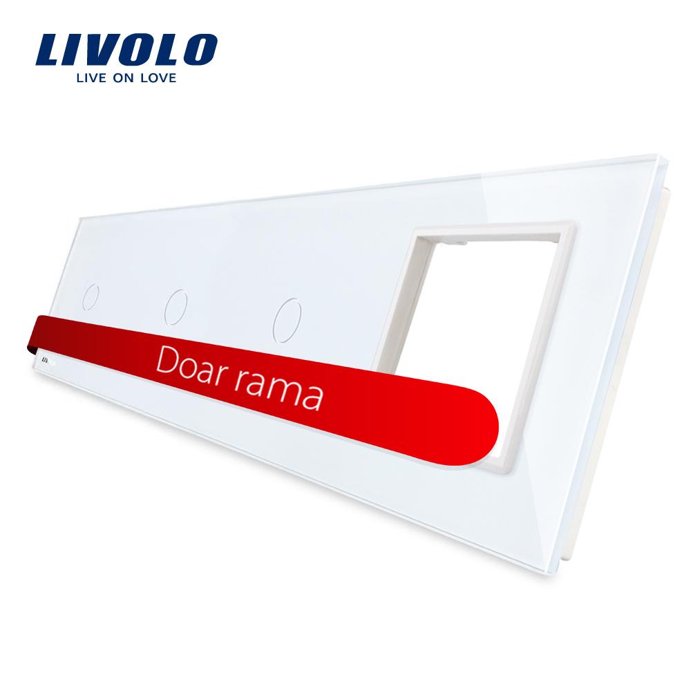 Panou intrerupator simplu+simplu+simplu cu touch + priza LIVOLO din sticla imagine case-smart.ro 2021